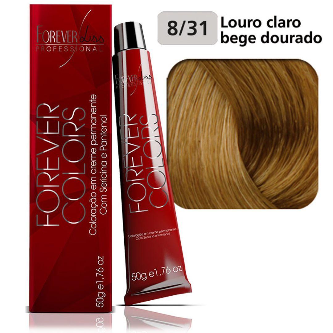 coloracao-forever-colors-bege-dourado-8-31-louro-claro-bege-dourado