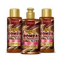 Kit-Bomba-de-Chocolate-com-Shampoo-Condicionador-e-Creme-Forever-Liss