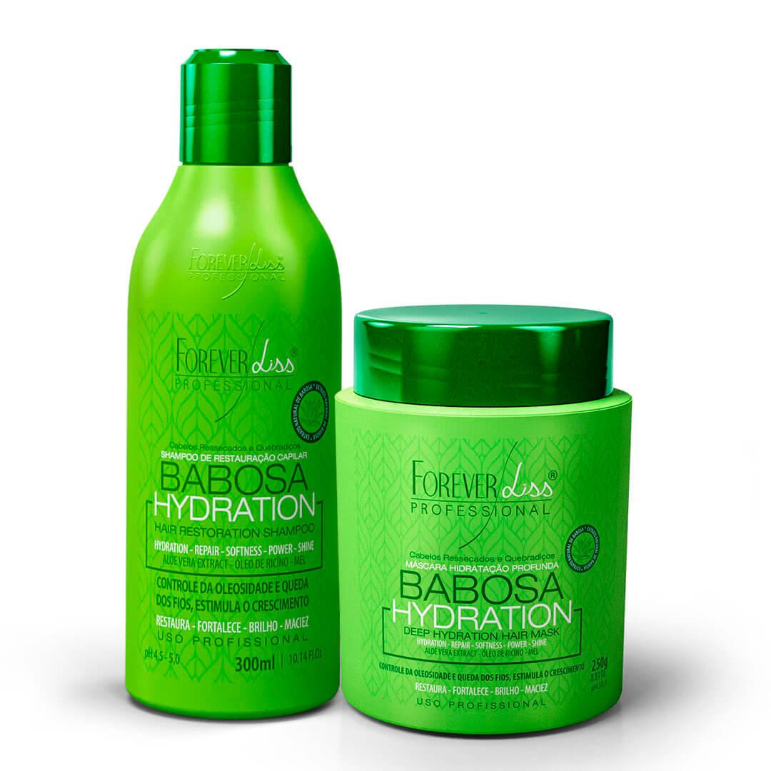 Kit-Babosa-no-Cabelo-Forever-Liss-com-Shampoo-300ml-e-Mascara-250g