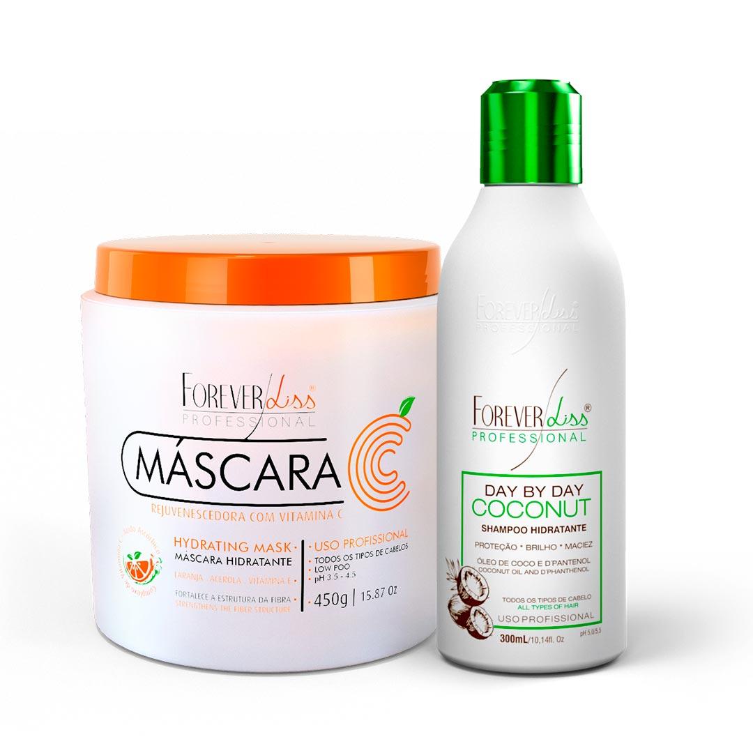 Kit-Mascara-Vitamina-C-450g-com-Shampoo-Day-By-Day-GANHE-Sombra-Nude-Forever-Liss-resultado